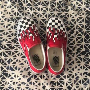 Red w/ checkered flames Vans